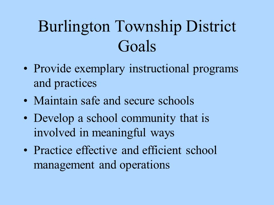 Provide exemplary instructional programs and practices Maintain safe and secure schools Develop a school community that is involved in meaningful ways Practice effective and efficient school management and operations Burlington Township District Goals