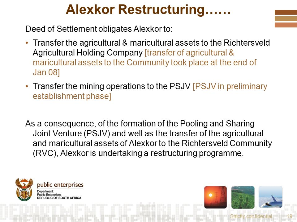 Strictly confidential19 Alexkor Restructuring…… Deed of Settlement obligates Alexkor to: Transfer the agricultural & maricultural assets to the Richte