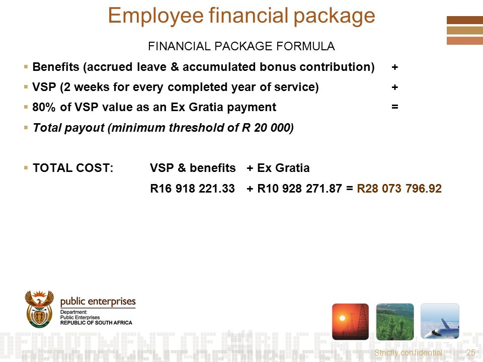 Strictly confidential25 Employee financial package FINANCIAL PACKAGE FORMULA  Benefits (accrued leave & accumulated bonus contribution) +  VSP (2 weeks for every completed year of service) +  80% of VSP value as an Ex Gratia payment=  Total payout (minimum threshold of R 20 000)  TOTAL COST: VSP & benefits + Ex Gratia R16 918 221.33 + R10 928 271.87 = R28 073 796.92