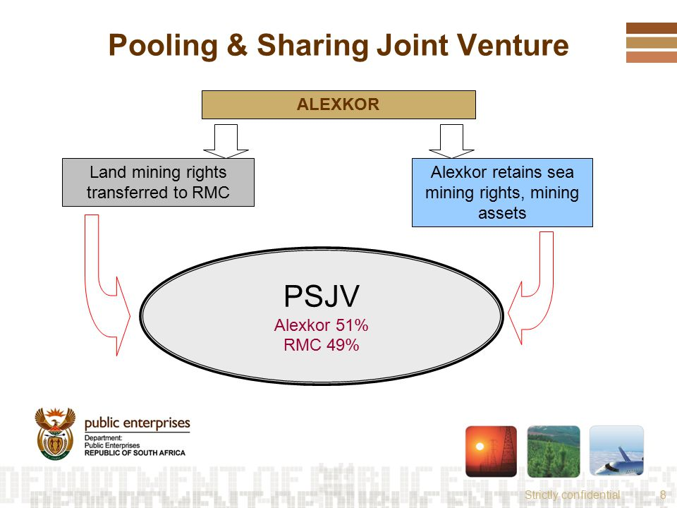 Strictly confidential8 Pooling & Sharing Joint Venture ALEXKOR Land mining rights transferred to RMC Alexkor retains sea mining rights, mining assets PSJV Alexkor 51% RMC 49%