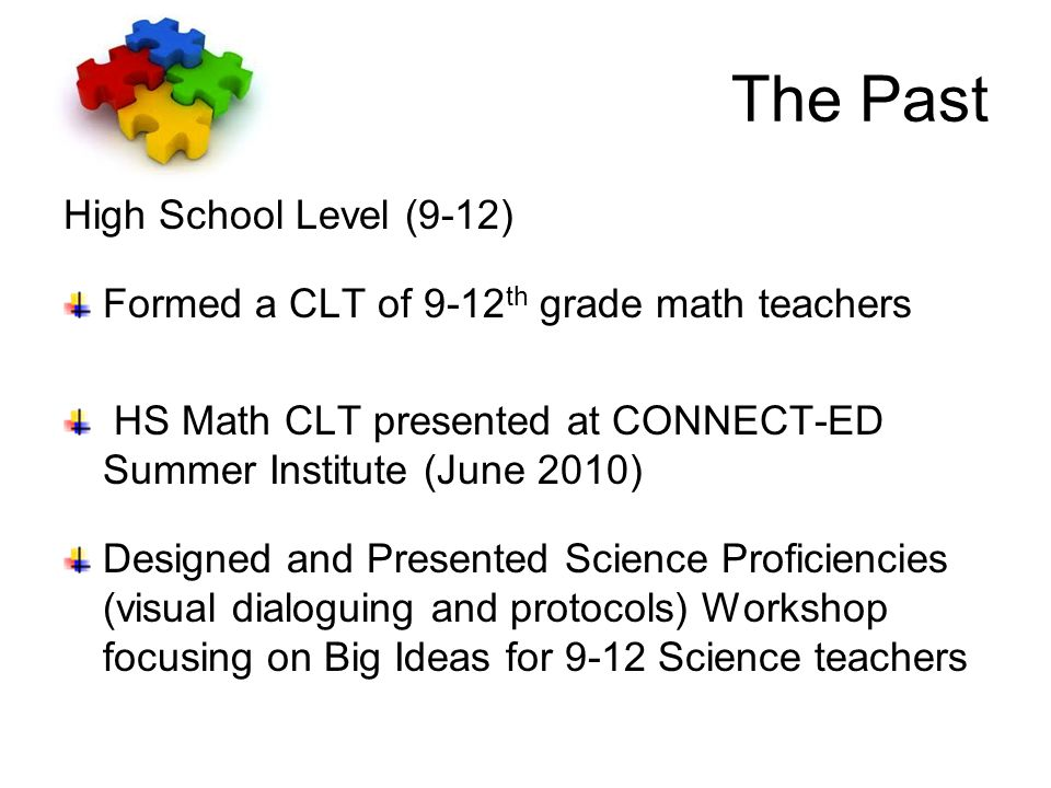 The Past High School Level (9-12) Formed a CLT of 9-12 th grade math teachers HS Math CLT presented at CONNECT-ED Summer Institute (June 2010) Designed and Presented Science Proficiencies (visual dialoguing and protocols) Workshop focusing on Big Ideas for 9-12 Science teachers