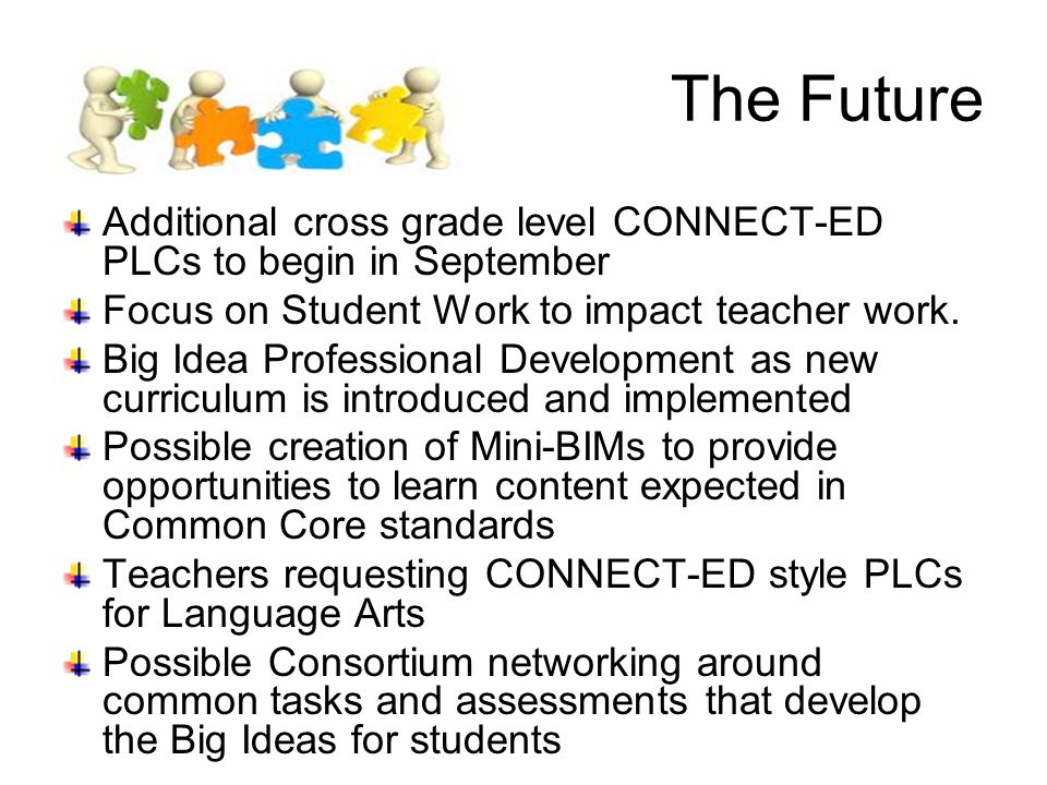 The Future Additional cross grade level CONNECT-ED PLCs to begin in September Focus on Student Work to impact teacher work.