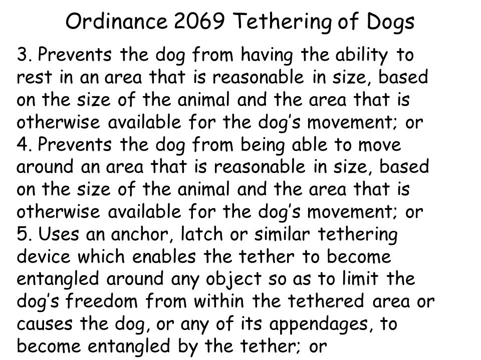 Ordinance 2069 Tethering of Dogs 3.