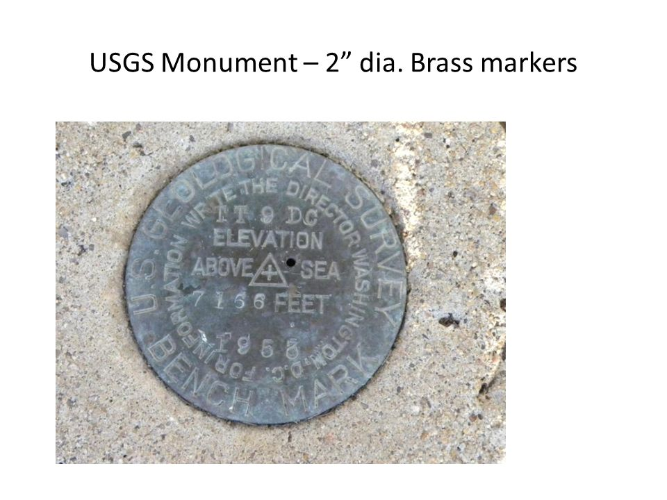 "USGS Monument – 2"" dia. Brass markers"