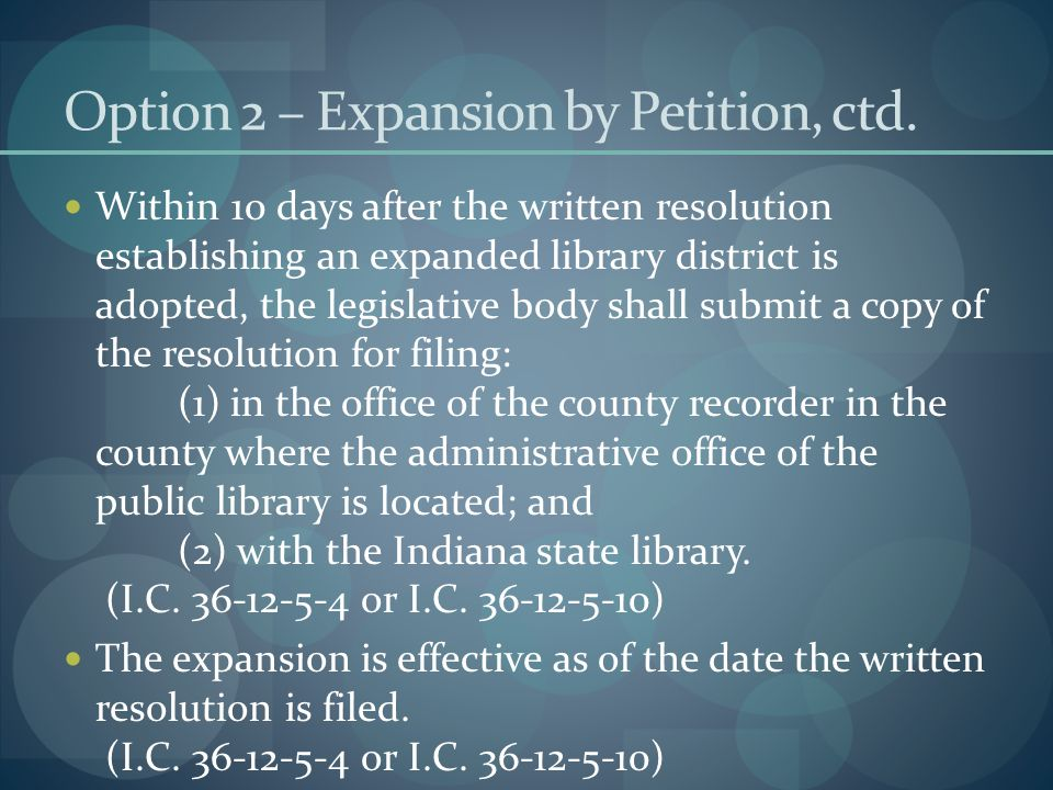 Option 2 – Expansion by Petition, ctd.