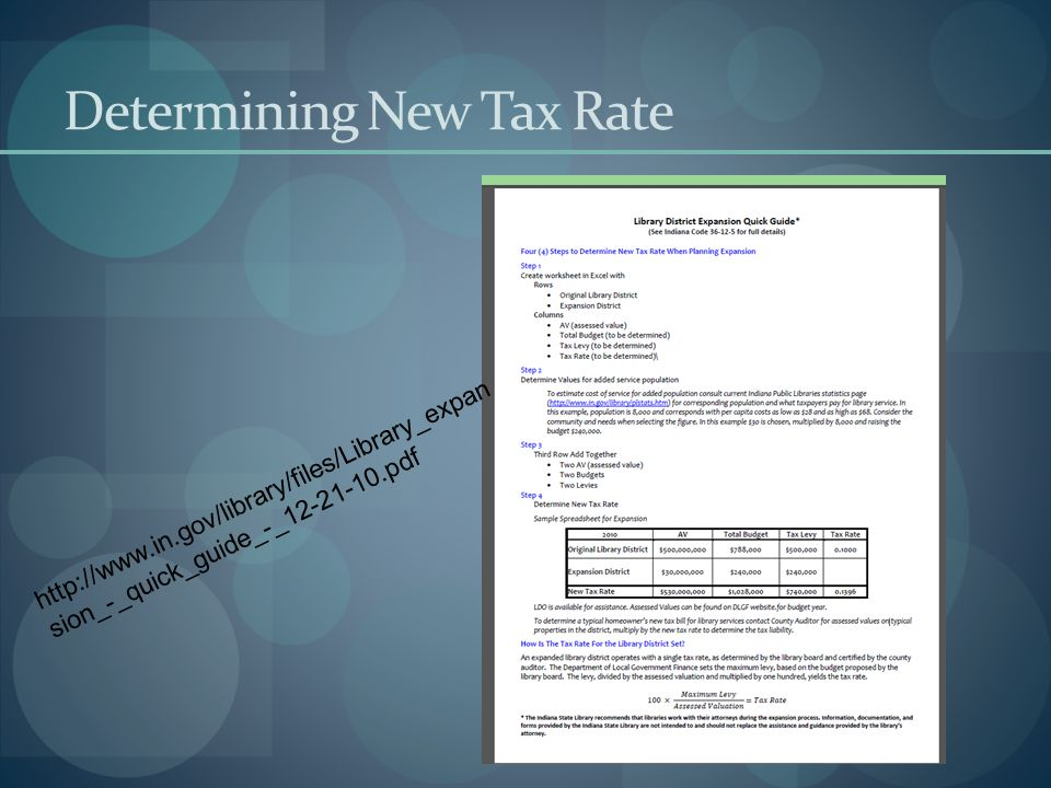 Determining New Tax Rate http://www.in.gov/library/files/Library_expan sion_-_quick_guide_-_12-21-10.pdf