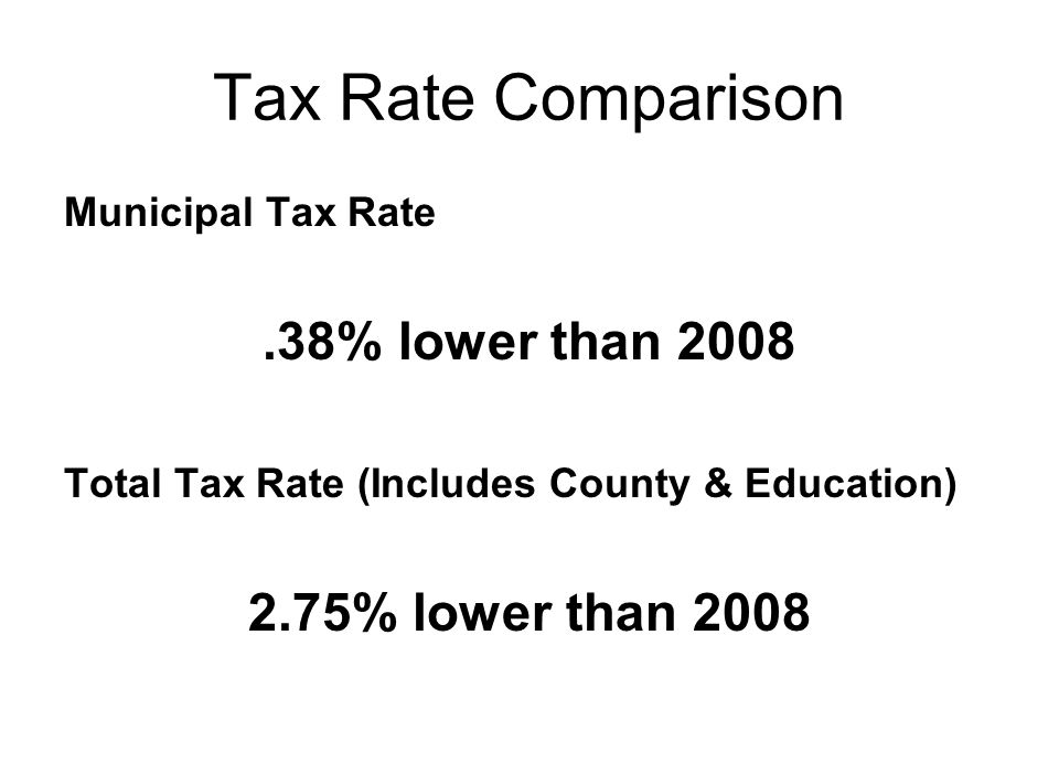 Tax Rate Comparison Municipal Tax Rate.38% lower than 2008 Total Tax Rate (Includes County & Education) 2.75% lower than 2008