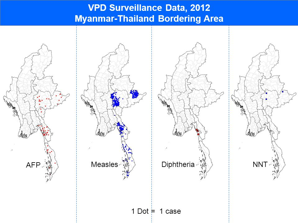 VPD Surveillance Data, 2012 Myanmar-Thailand Bordering Area AFP MeaslesDiphtheriaNNT 1 Dot = 1 case