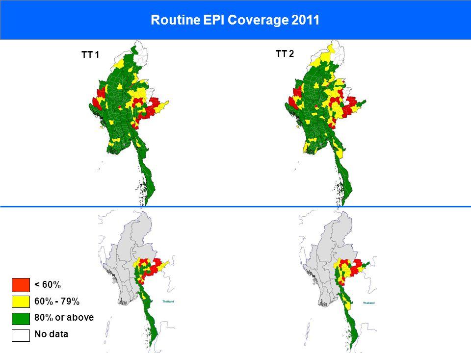 < 60% 60% - 79% 80% or above No data Routine EPI Coverage 2011 TT 2 TT 1