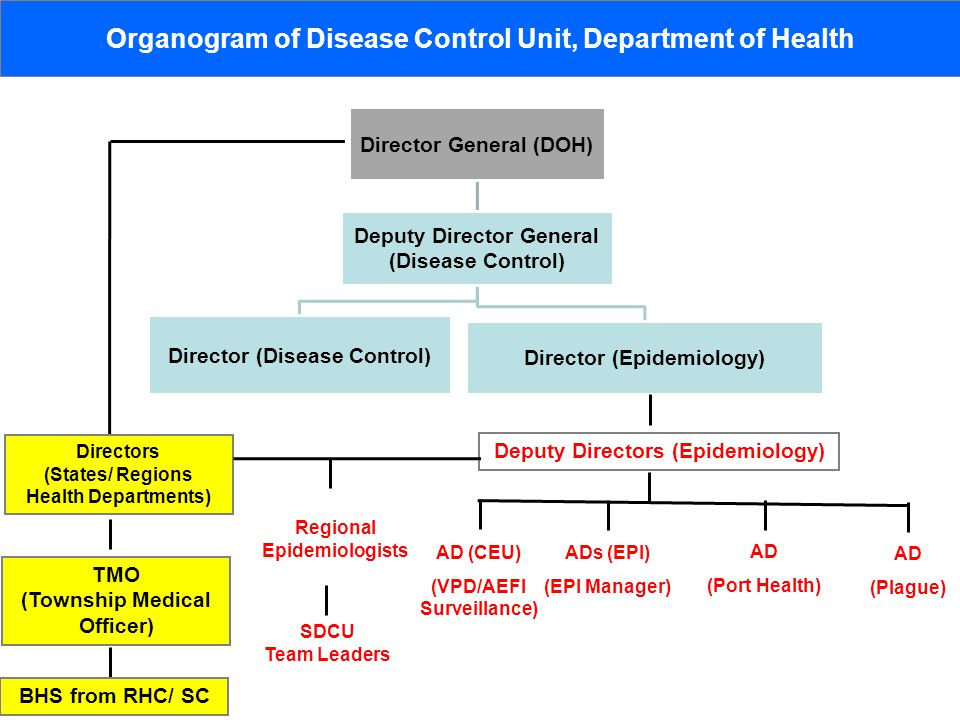 Organogram of Disease Control Unit, Department of Health Deputy Directors (Epidemiology) AD (CEU) (VPD/AEFI Surveillance) ADs (EPI) (EPI Manager) AD (Port Health) AD (Plague) Regional Epidemiologists SDCU Team Leaders Directors (States/ Regions Health Departments) TMO (Township Medical Officer) BHS from RHC/ SC