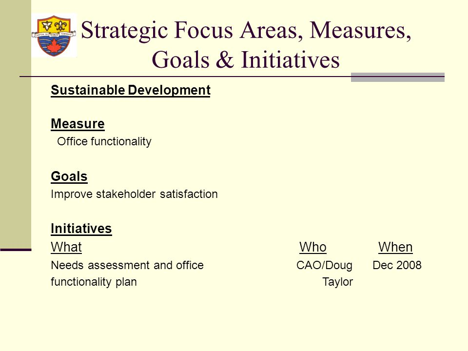 Strategic Focus Areas, Measures, Goals & Initiatives Sustainable Development Measure Office functionality Goals Improve stakeholder satisfaction Initiatives What WhoWhen Needs assessment and office CAO/Doug Dec 2008 functionality plan Taylor
