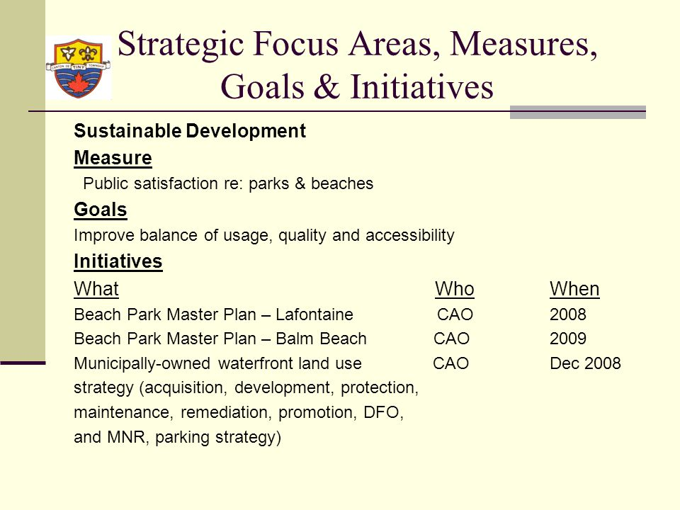 Strategic Focus Areas, Measures, Goals & Initiatives Sustainable Development Measure Public satisfaction re: parks & beaches Goals Improve balance of usage, quality and accessibility Initiatives What WhoWhen Beach Park Master Plan – Lafontaine CAO2008 Beach Park Master Plan – Balm Beach CAO2009 Municipally-owned waterfront land use CAODec 2008 strategy (acquisition, development, protection, maintenance, remediation, promotion, DFO, and MNR, parking strategy)