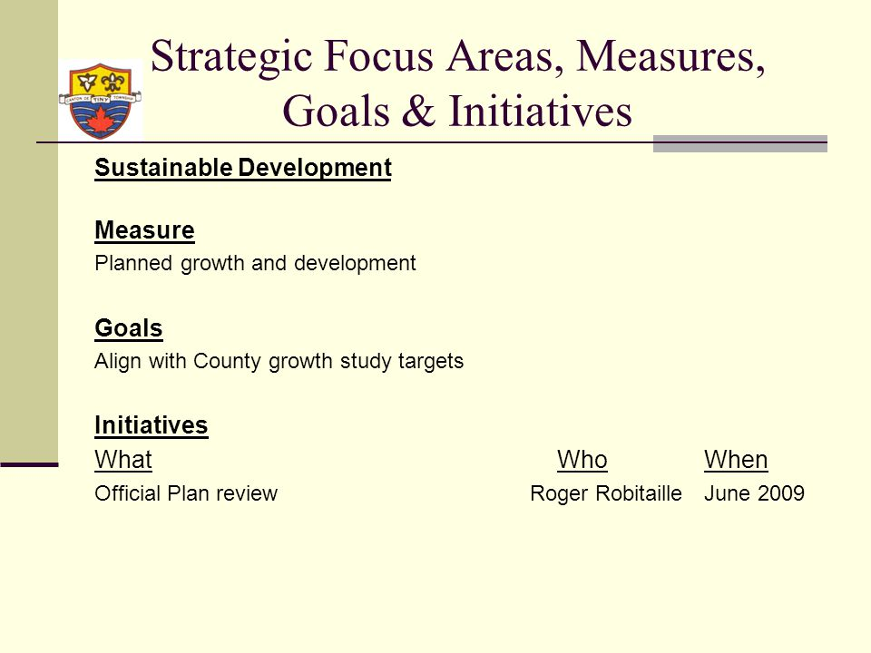 Strategic Focus Areas, Measures, Goals & Initiatives Sustainable Development Measure Planned growth and development Goals Align with County growth study targets Initiatives What WhoWhen Official Plan reviewRoger RobitailleJune 2009