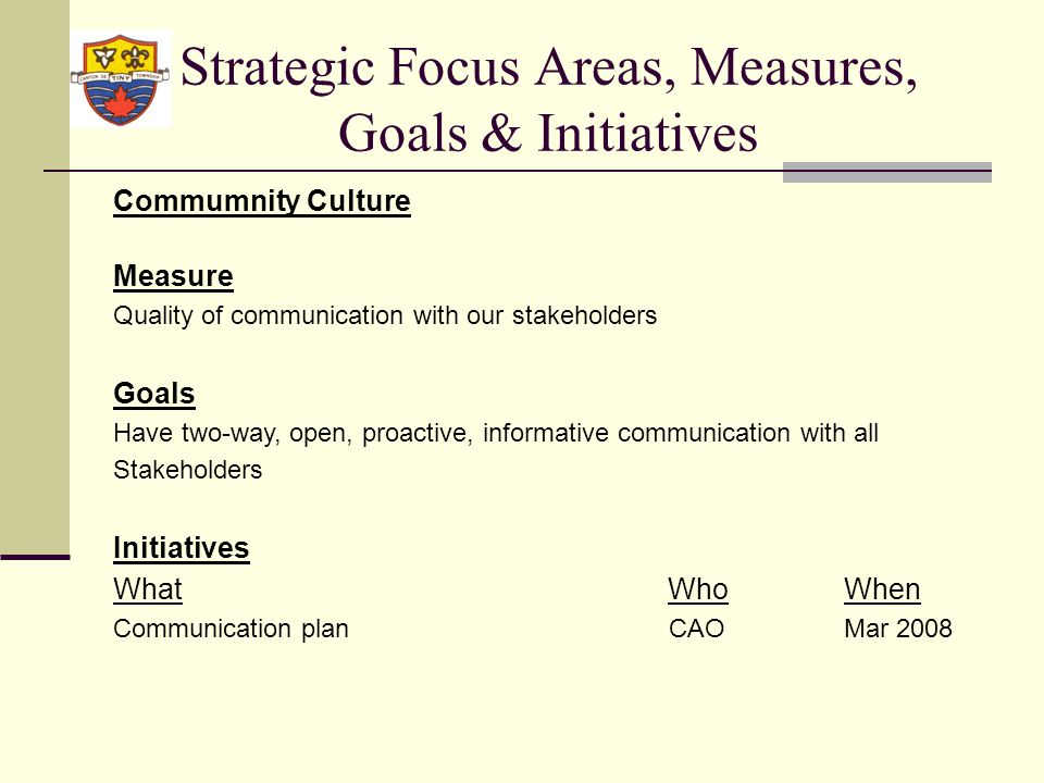 Strategic Focus Areas, Measures, Goals & Initiatives Commumnity Culture Measure Quality of communication with our stakeholders Goals Have two-way, open, proactive, informative communication with all Stakeholders Initiatives What WhoWhen Communication plan CAOMar 2008