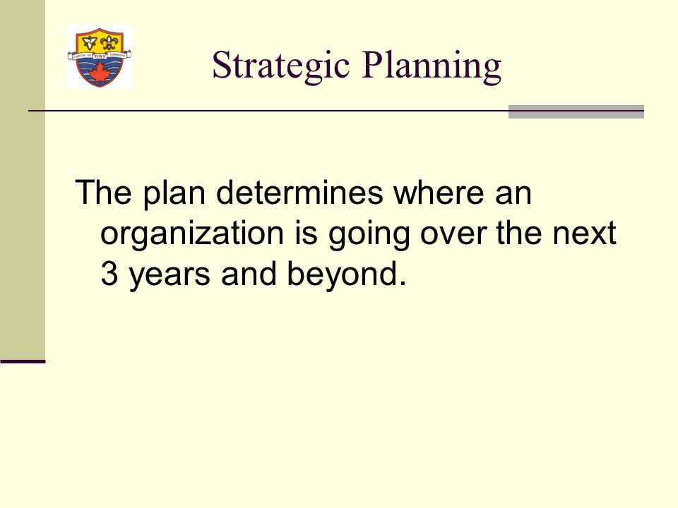 Background to Strategic Planning Exercise 2007 At the Committee of the Whole meeting on May 28 th, 2007, Council awarded the contract for the Strategic Planning Exercise to consultants, Focus Management (resolution 343/07) The leadership team consists of all senior staff and Council