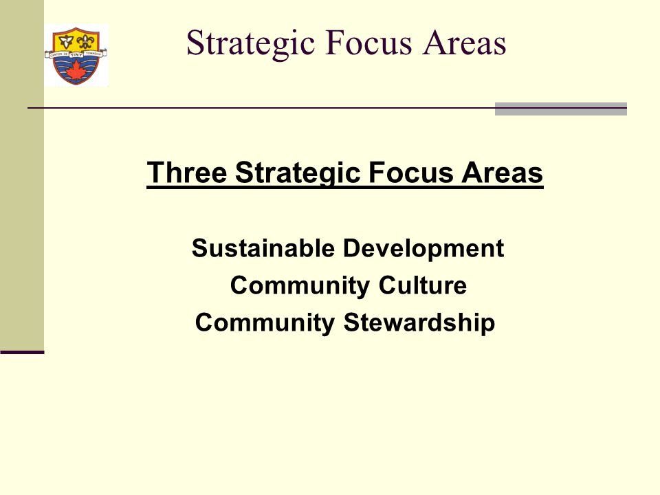 Strategic Focus Areas Sustainable Development Infrastructure Growth Demographics Natural environment