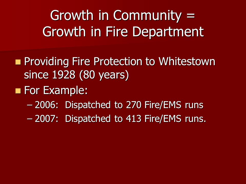 Growth in Community = Growth in Fire Department Providing Fire Protection to Whitestown since 1928 (80 years) Providing Fire Protection to Whitestown since 1928 (80 years) For Example: For Example: –2006: Dispatched to 270 Fire/EMS runs –2007: Dispatched to 413 Fire/EMS runs.