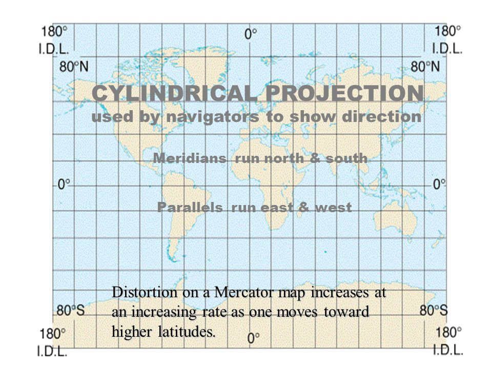 CYLINDRICAL PROJECTION used by navigators to show direction Meridians run north & south Parallels run east & west Distortion on a Mercator map increas