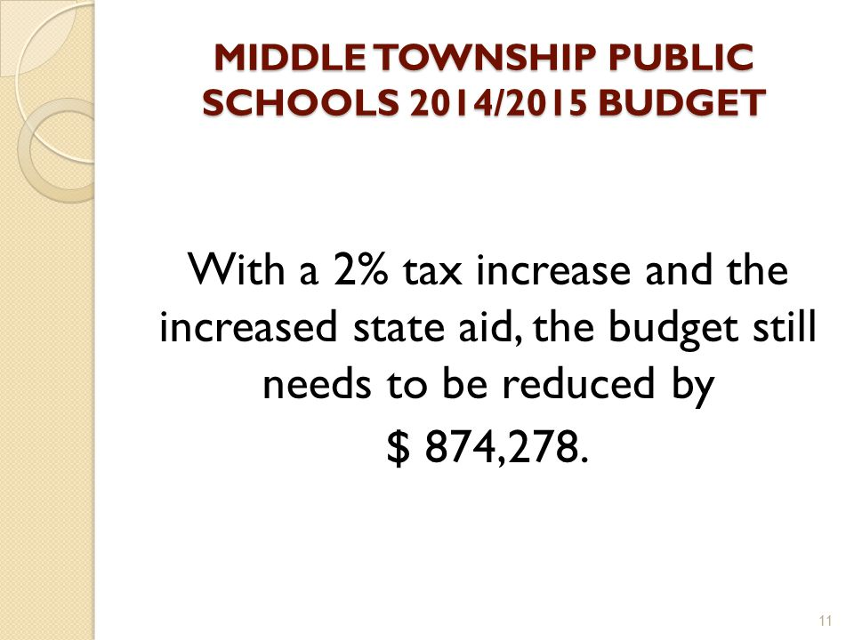 MIDDLE TOWNSHIP PUBLIC SCHOOLS 2014/2015 BUDGET With a 2% tax increase and the increased state aid, the budget still needs to be reduced by $ 874,278.