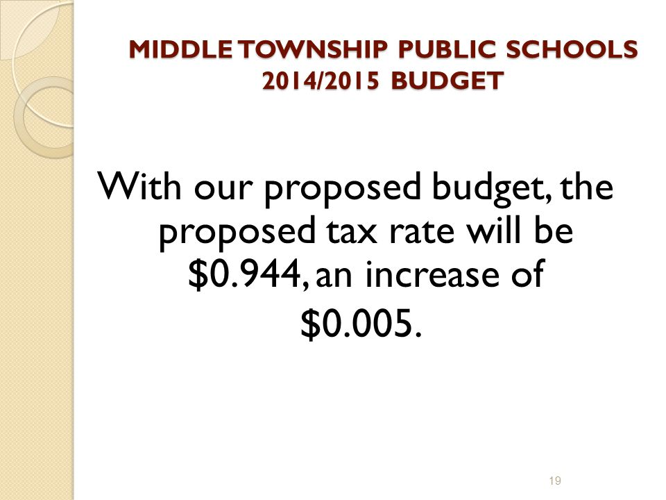MIDDLE TOWNSHIP PUBLIC SCHOOLS 2014/2015 BUDGET With our proposed budget, the proposed tax rate will be $0.944, an increase of $0.005.