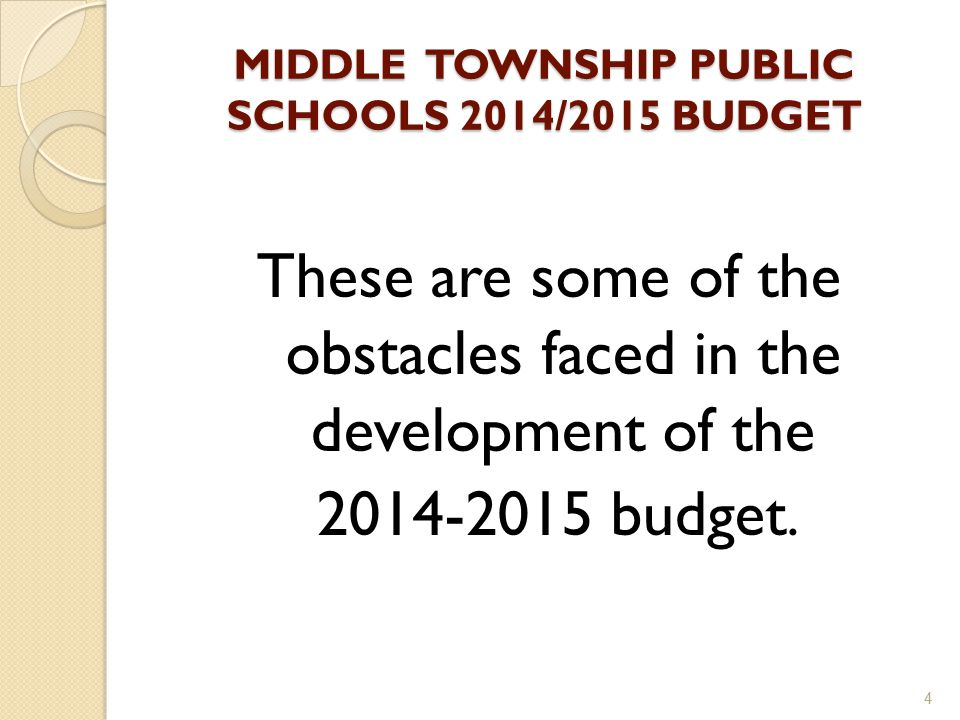 MIDDLE TOWNSHIP PUBLIC SCHOOLS 2014/2015 BUDGET These are some of the obstacles faced in the development of the 2014-2015 budget.