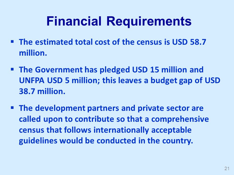  The estimated total cost of the census is USD 58.7 million.