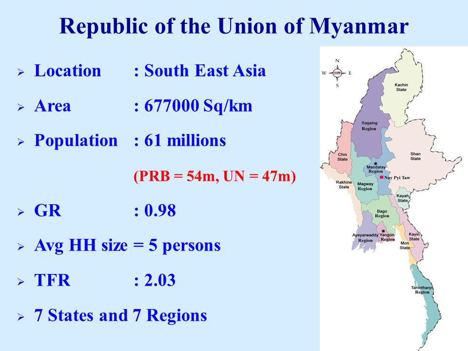  Location: South East Asia  Area: 677000 Sq/km  Population: 61 millions (PRB = 54m, UN = 47m)  GR: 0.98  Avg HH size= 5 persons  TFR: 2.03  7 States and 7 Regions Republic of the Union of Myanmar