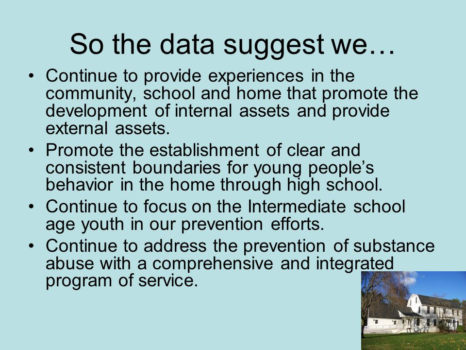 So the data suggest we… Continue to provide experiences in the community, school and home that promote the development of internal assets and provide external assets.