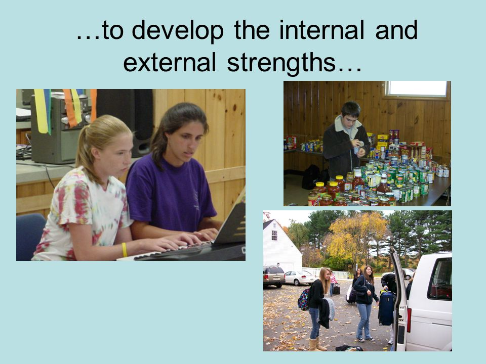 …to develop the internal and external strengths…