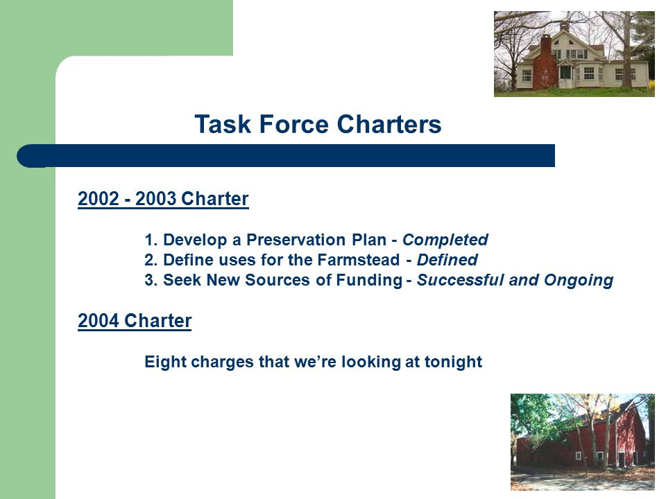 2002 - 2003 Charter 1. Develop a Preservation Plan - Completed 2.