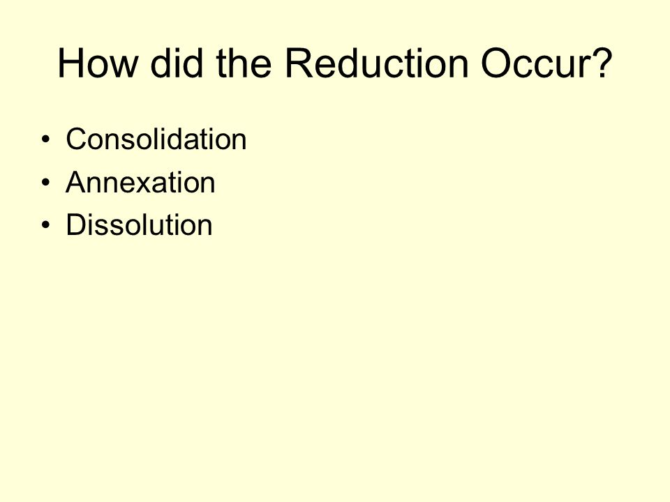 How did the Reduction Occur Consolidation Annexation Dissolution