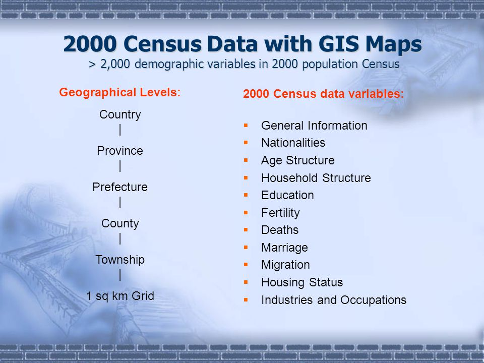 2000 Census Data with GIS Maps > 2,000 demographic variables in 2000 population Census 2000 Census data variables:  General Information  Nationalities  Age Structure  Household Structure  Education  Fertility  Deaths  Marriage  Migration  Housing Status  Industries and Occupations Geographical Levels: Country | Province | Prefecture | County | Township | 1 sq km Grid