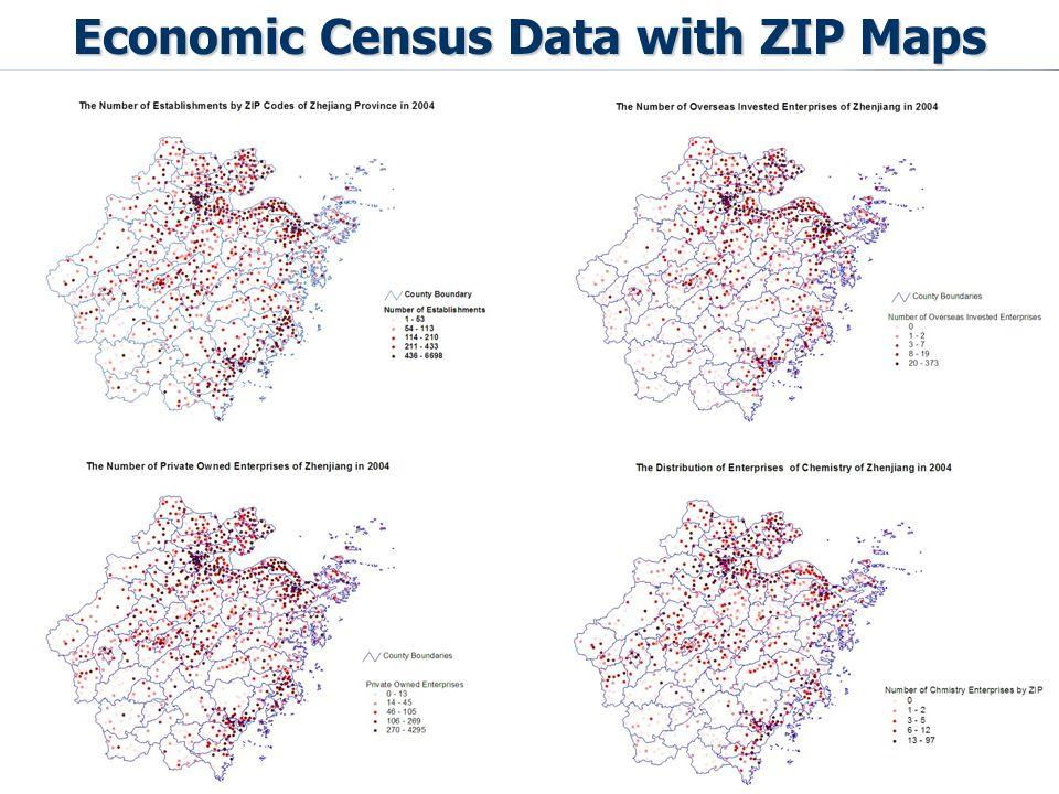 Economic Census Data with ZIP Maps