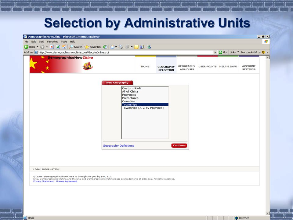 Selection by Administrative Units