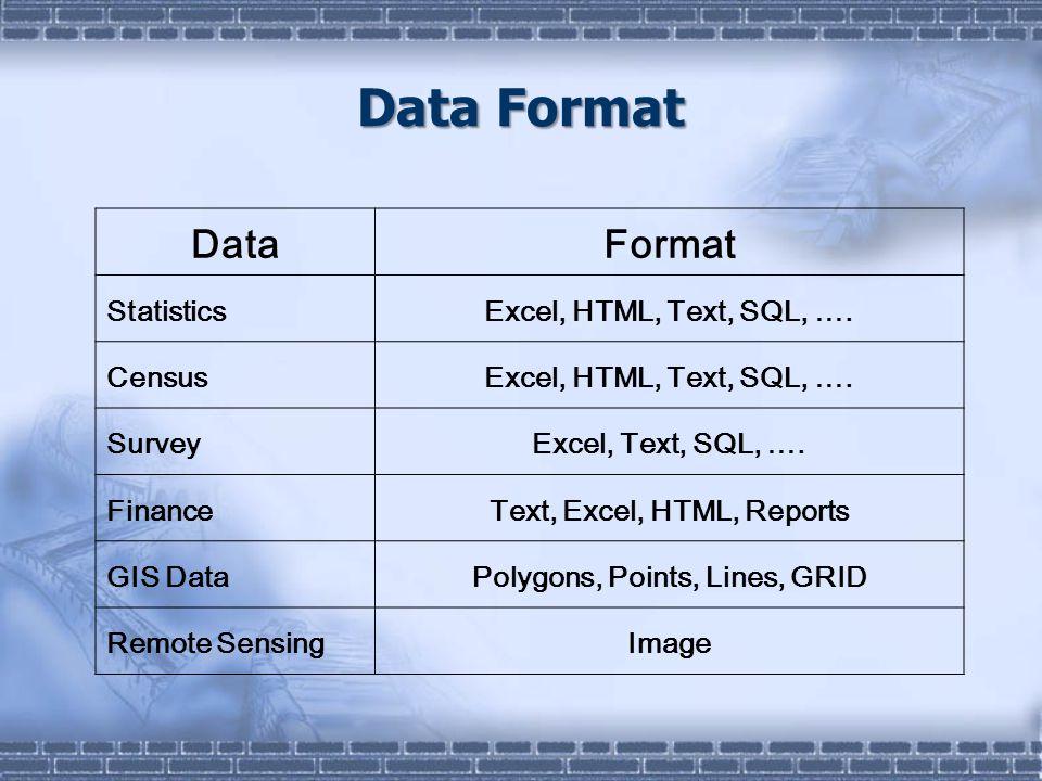 Data Format DataFormat StatisticsExcel, HTML, Text, SQL, …. CensusExcel, HTML, Text, SQL, …. SurveyExcel, Text, SQL, …. FinanceText, Excel, HTML, Repo