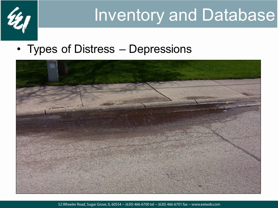 Inventory and Database Types of Distress – Depressions