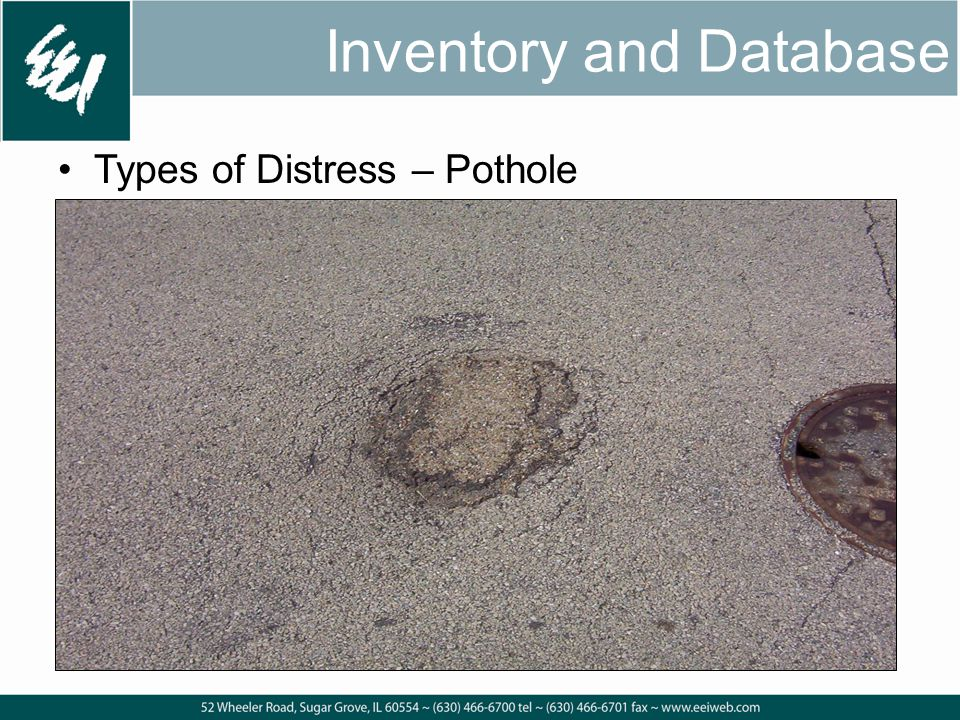 Inventory and Database Types of Distress – Pothole