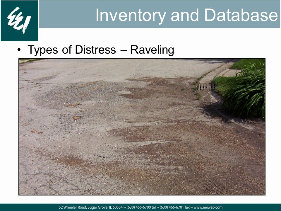 Inventory and Database Types of Distress – Raveling