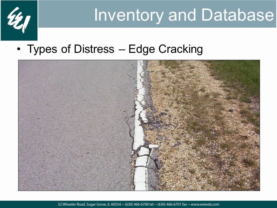 Inventory and Database Types of Distress – Edge Cracking