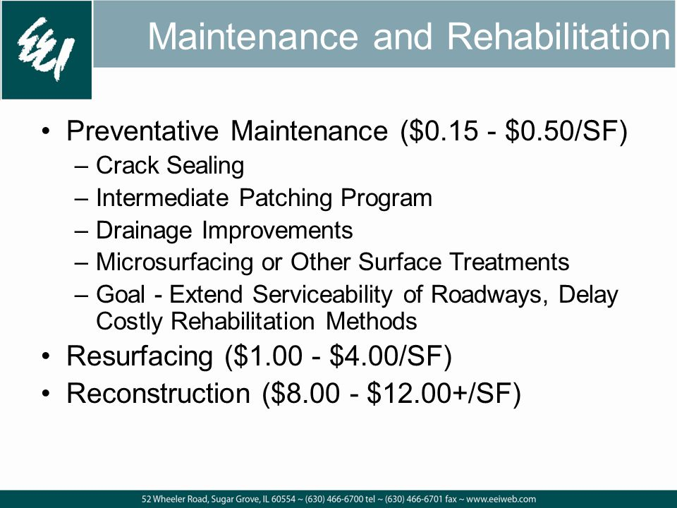 Maintenance and Rehabilitation Preventative Maintenance ($0.15 - $0.50/SF) –Crack Sealing –Intermediate Patching Program –Drainage Improvements –Microsurfacing or Other Surface Treatments –Goal - Extend Serviceability of Roadways, Delay Costly Rehabilitation Methods Resurfacing ($1.00 - $4.00/SF) Reconstruction ($8.00 - $12.00+/SF)