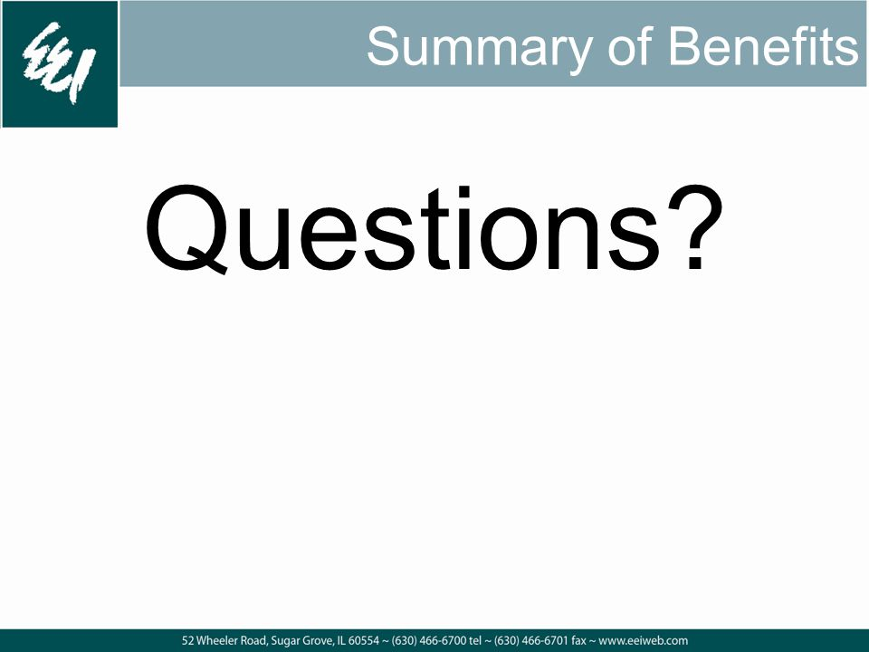 Summary of Benefits Questions