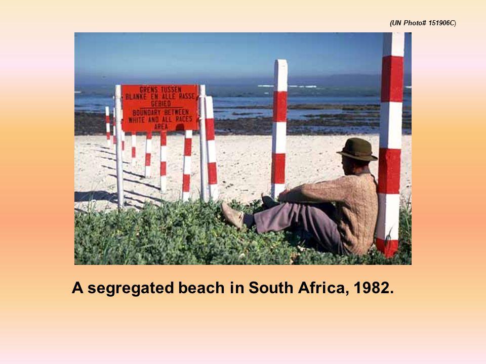 A segregated beach in South Africa, 1982. (UN Photo# 151906C)