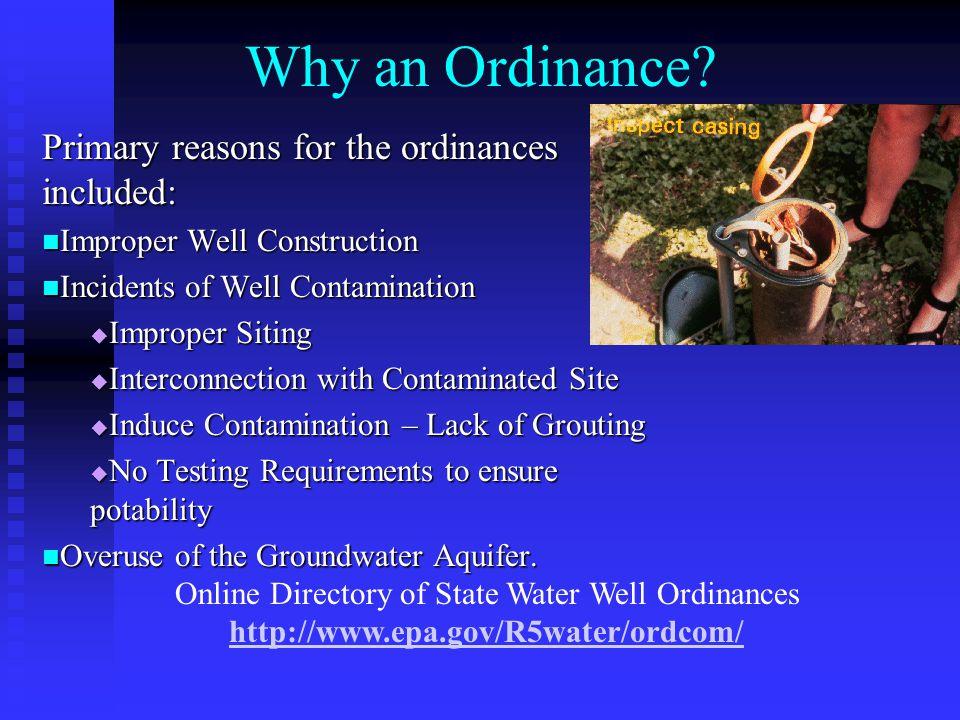 Why an Ordinance.