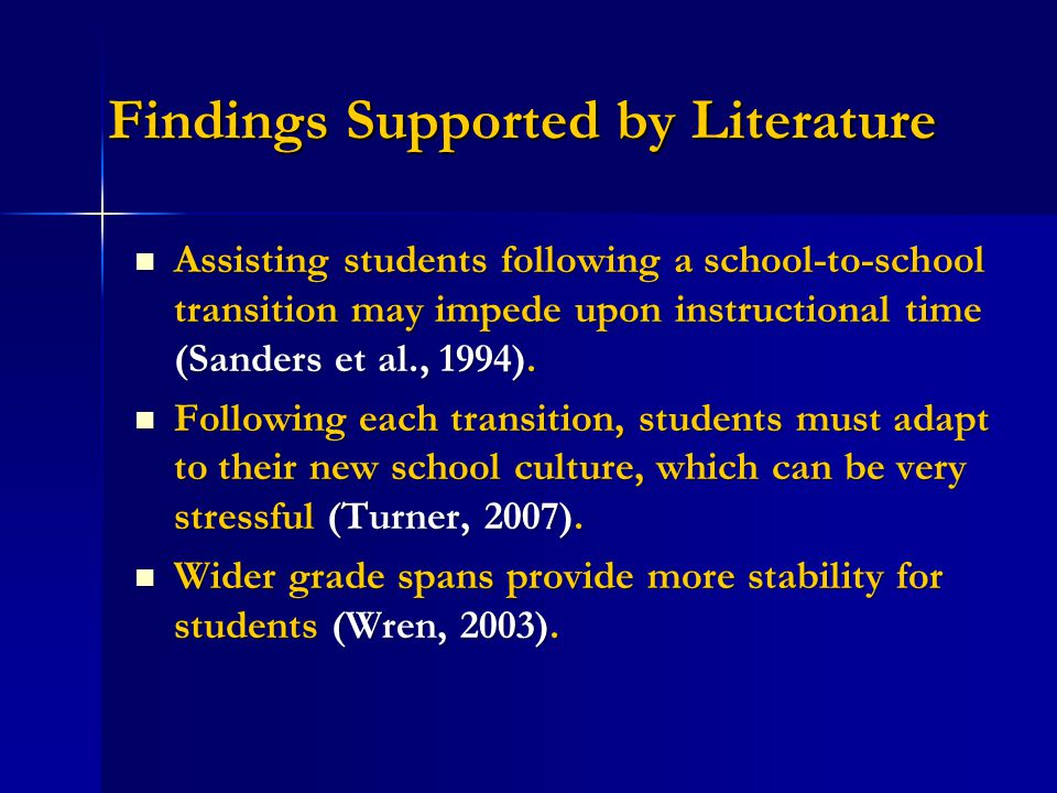 Findings Supported by Literature Assisting students following a school-to-school transition may impede upon instructional time (Sanders et al., 1994).
