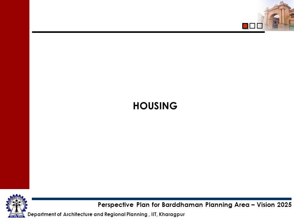 Department of Architecture and Regional Planning, IIT, Kharagpur Perspective Plan for Barddhaman Planning Area – Vision 2025 HOUSING