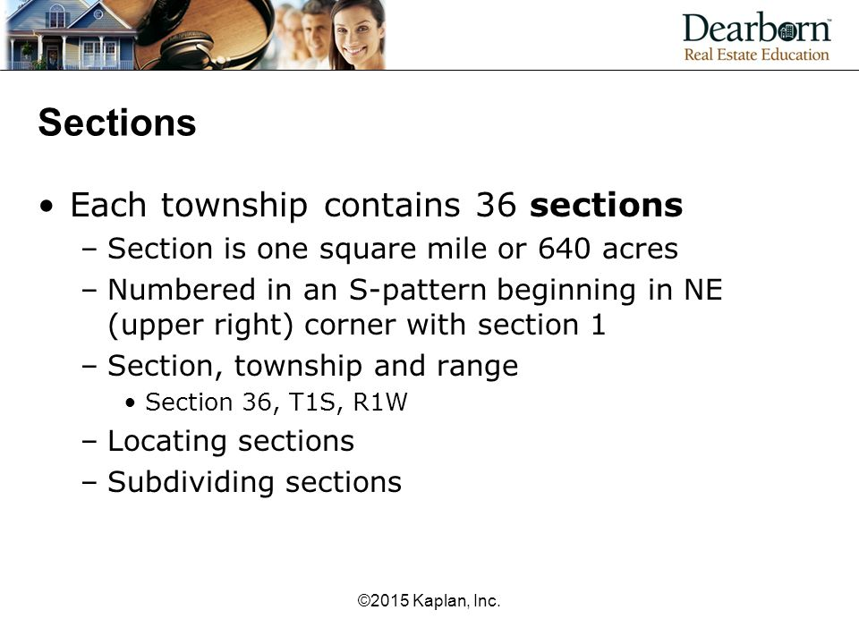 Sections Each township contains 36 sections –Section is one square mile or 640 acres –Numbered in an S-pattern beginning in NE (upper right) corner wi
