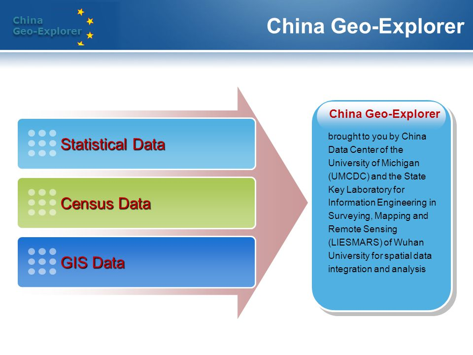 China Geo-Explorer China Geo-Explorer China Geo-Explorer Spatial Intelligence for Space-Time Data Integration and Analysis Statistics Charts GIS Census Maps Tables Reports