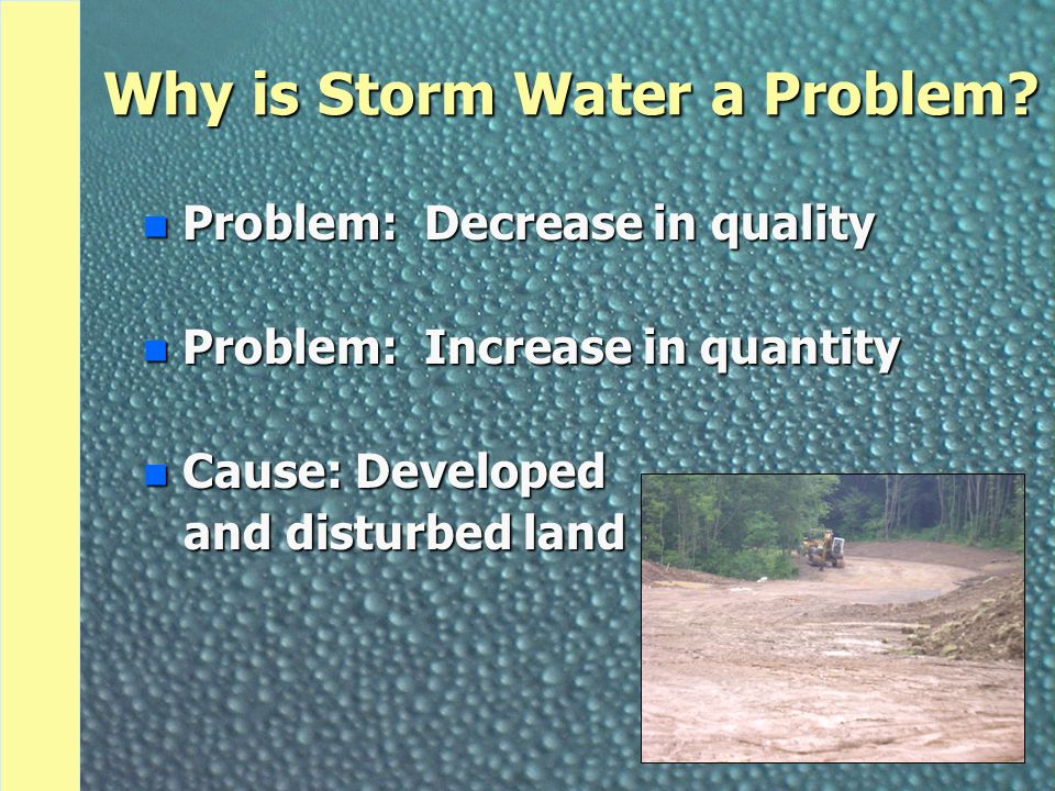 Why is Storm Water a Problem? n Problem: Decrease in quality n Problem: Increase in quantity n Cause: Developed and disturbed land and disturbed land
