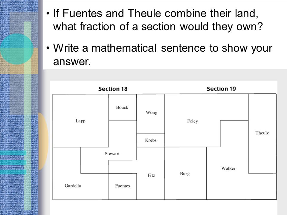 If Fuentes and Theule combine their land, what fraction of a section would they own.