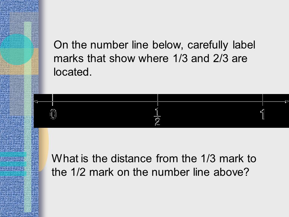 On the number line below, carefully label marks that show where 1/3 and 2/3 are located. What is the distance from the 1/3 mark to the 1/2 mark on the